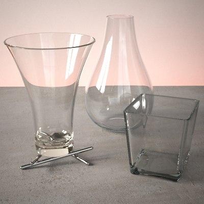 glass vase set 3d model