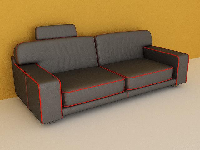 3ds black leather sofa