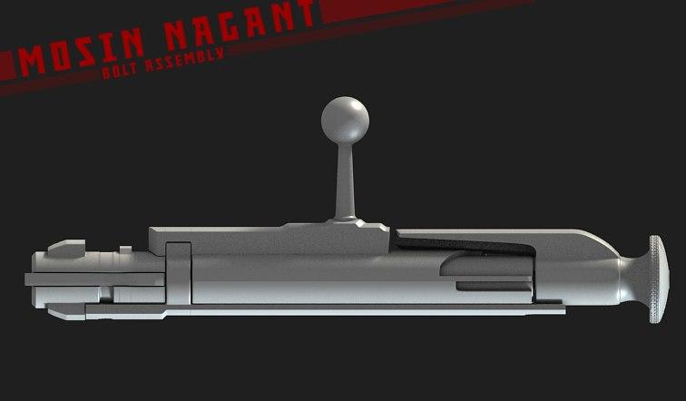 rifle bolt assembly 3d model