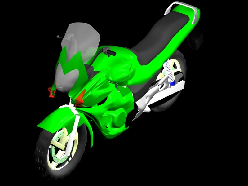 3d model sports bike green