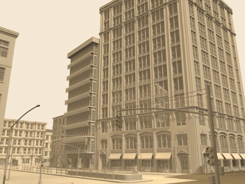 city buildings 3d lwo