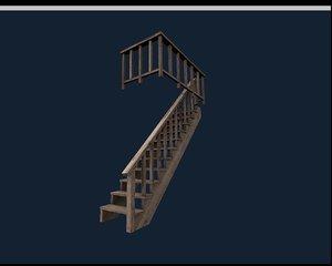 wood steps 3d model