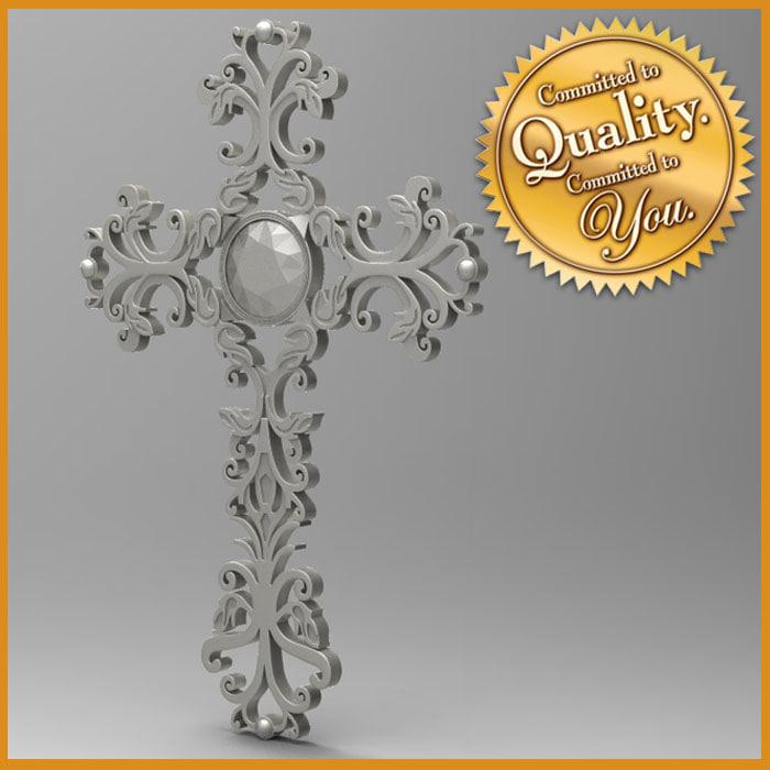 3d model ornamental cross