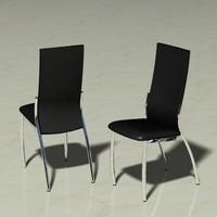 3d leather chrome chair