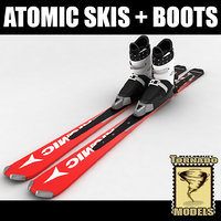 3d model alpine atomic skis boots