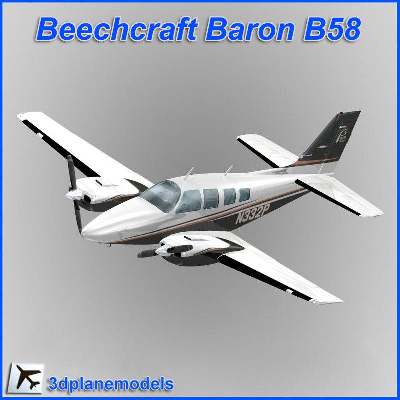 3d model beechcraft baron b58 private