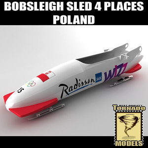 bobsleigh sled 4 places 3d 3ds