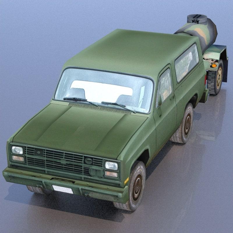 army pickup tank 3d model