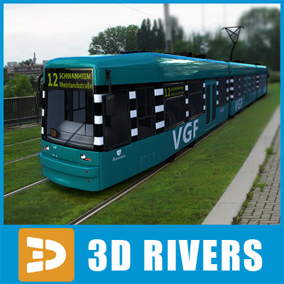 3d model contemporary frankfurt tram tramways