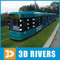 3d model contemporary frankfurt tram tramways