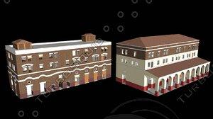 roman apartment buildings housing 3d c4d