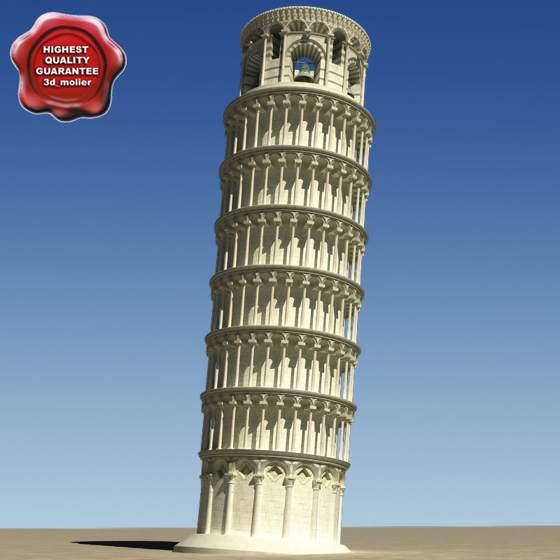 maya realistic pisa tower