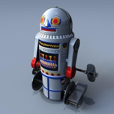 3d model retro toy robot