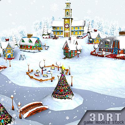 3d 0 christmas village model