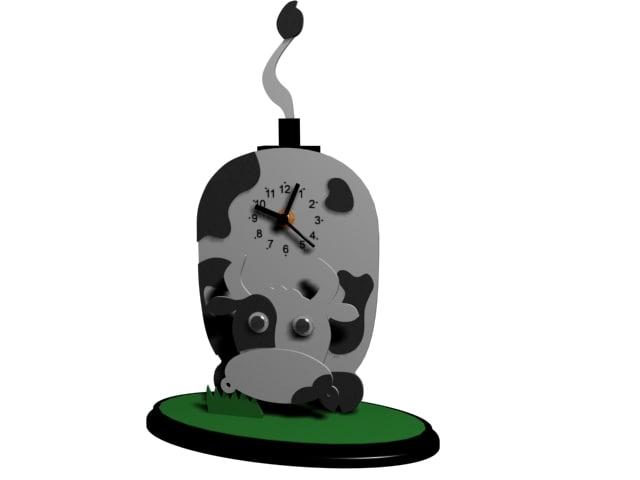 cow clock 3d model