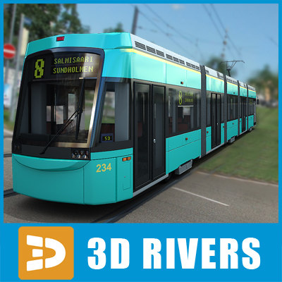 contemporary helsinki tram tramways 3d 3ds