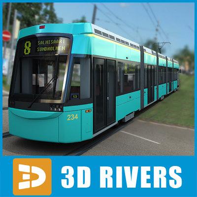 contemporary helsinki tram tramways 3d 3ds