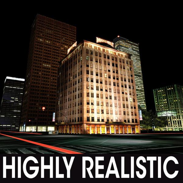 night city 3d 3ds