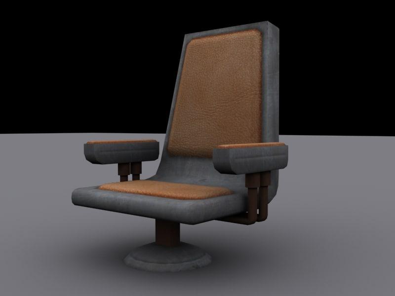 futuristic metal chair sci-fi 3d model