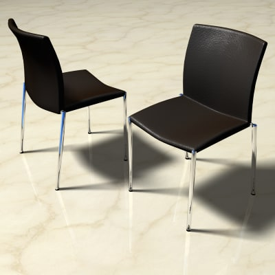 3d dining chair chrome leather