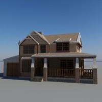american house building - 3d model