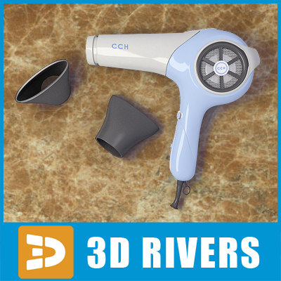 3d glamourous white hairdryer hair style model