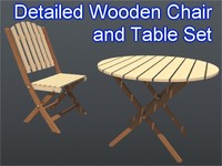 3d model chair table set