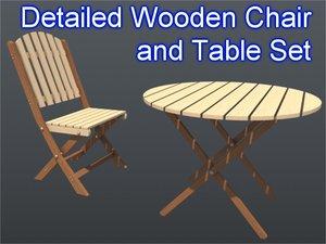 3d model chair table set