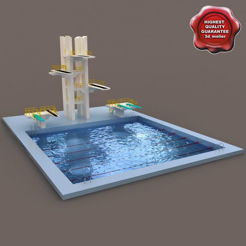 3d model diving pool