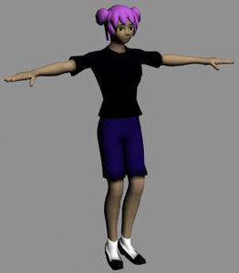 free rpg anime character set 3d model