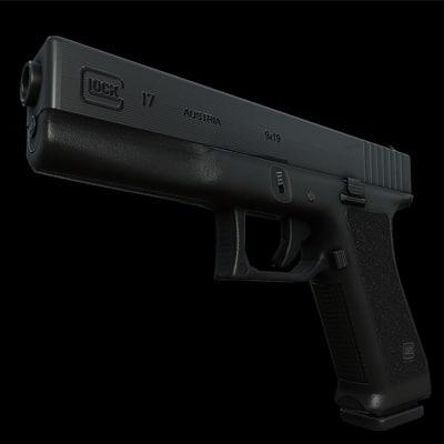 3d model of glock 17 gun bullet