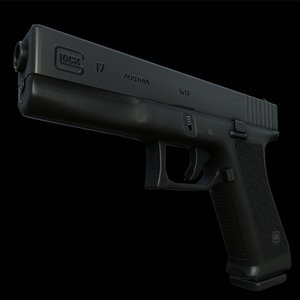 3d model of glock 17 gun bullet