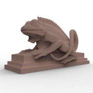 balinesian lizard sculpture 3d obj
