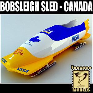 3d model bobsleigh sled - canada
