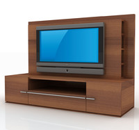 3d model modern tv wall unit