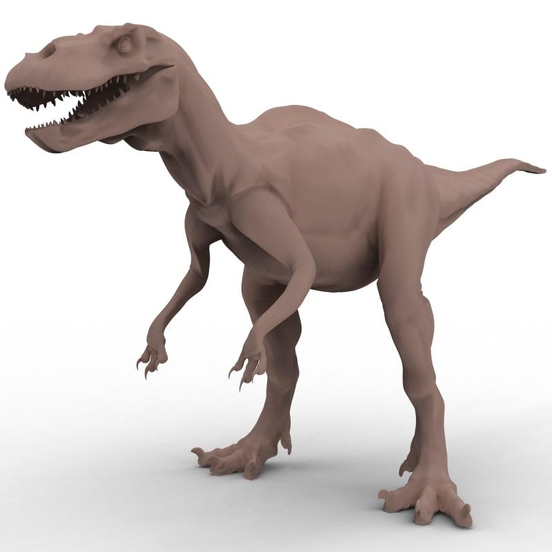 3d acrocanthosaurus theropod dinosaur model