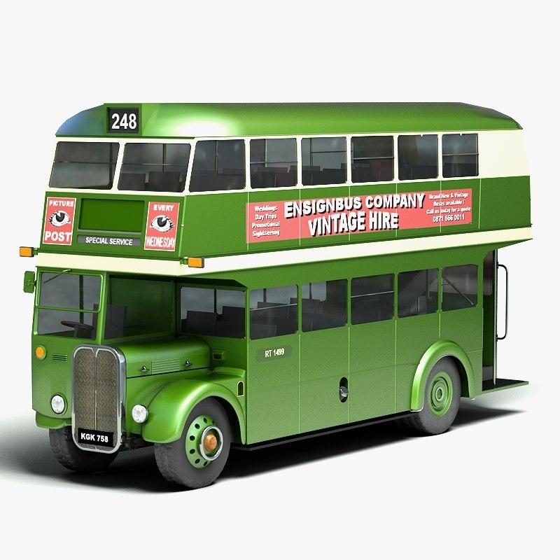 3d model traditional double decker bus