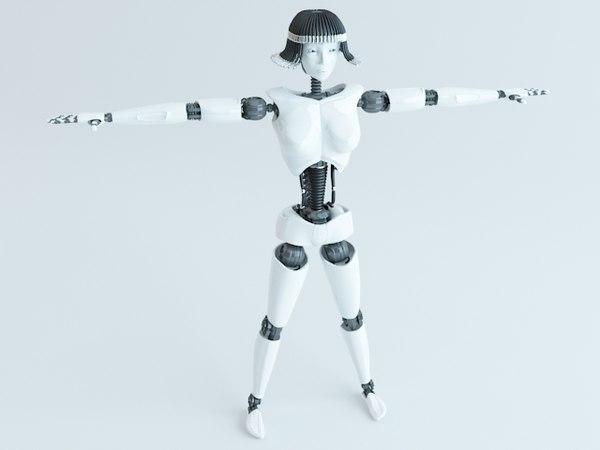 female robot 3d model
