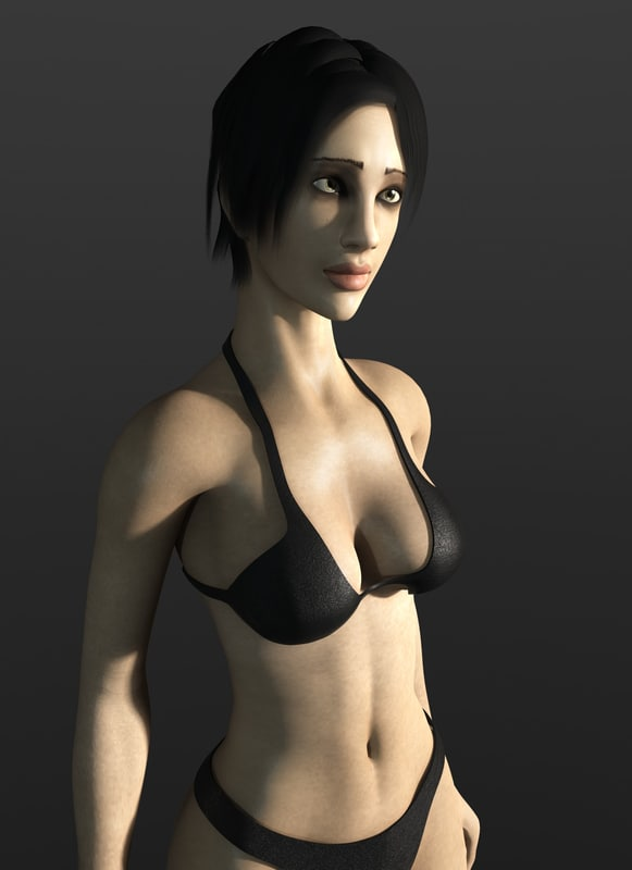 female character rigged sss 3d max