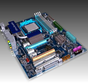 3d model of socket am3 amd motherboard