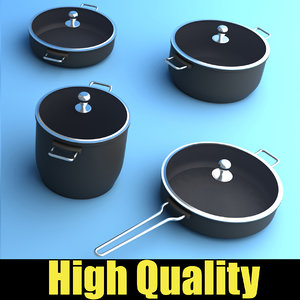 set kitchen pots 3d max