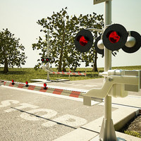 3d model of railroad crossing road
