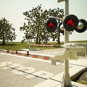 3d model of railroad crossing road