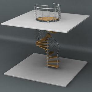 spiral staircase 3d obj