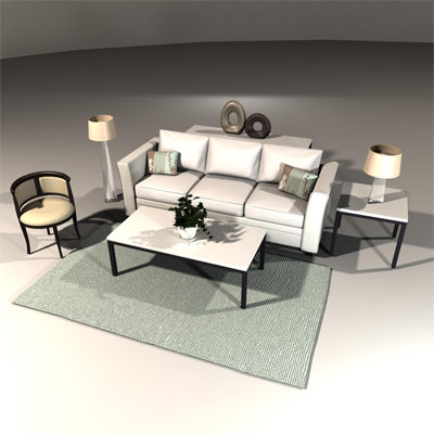 living room set obj