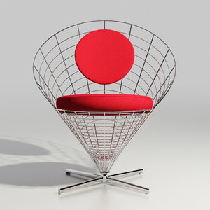 3ds max wire cone chair