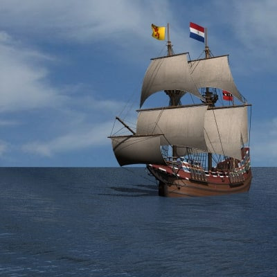 half moon galleon ship 3ds