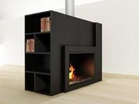 modern fireplace 3d max