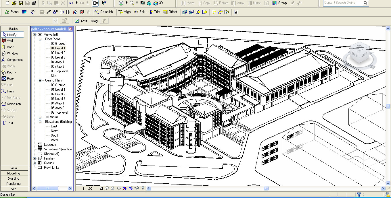 college university building revit 3d max