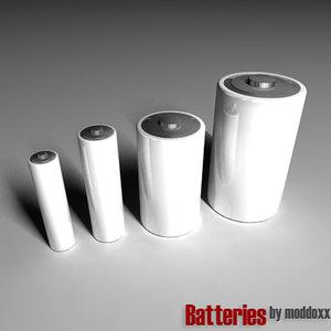 free batteries aaa aa 3d model
